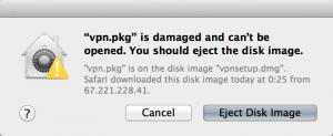 """vpn.pk"" is damaged and can't be opened. You should eject the disk image."