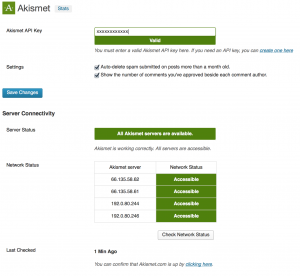 Screenshot of Akismet settings in WordPress