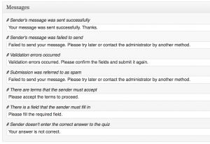 Screenshot of message responses for Contact Form 7 configuration page