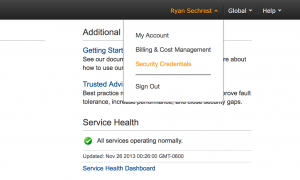 Screenshot of AWS console with link to Security Credentials