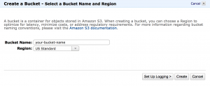 Screenshot of the S3 service dashboard in the AWS console